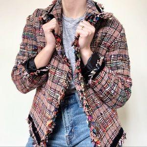 Caruso   Vintage Colorful Tweed Jacket with Fringe